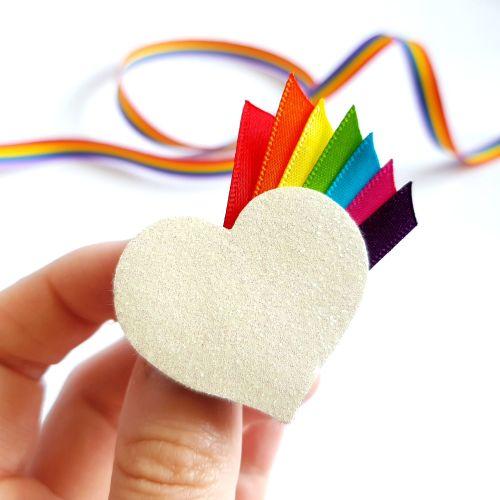 Heart Brooch with Rainbow Ribbon