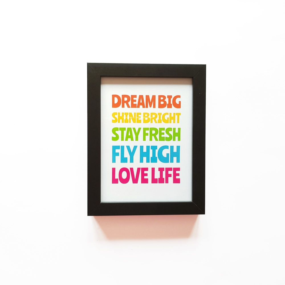 Colourful Quote A5 Print