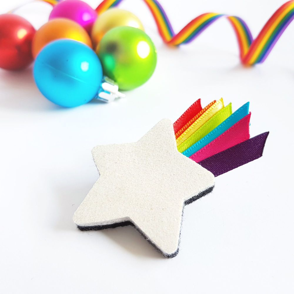 Star Brooch with Rainbow Ribbon