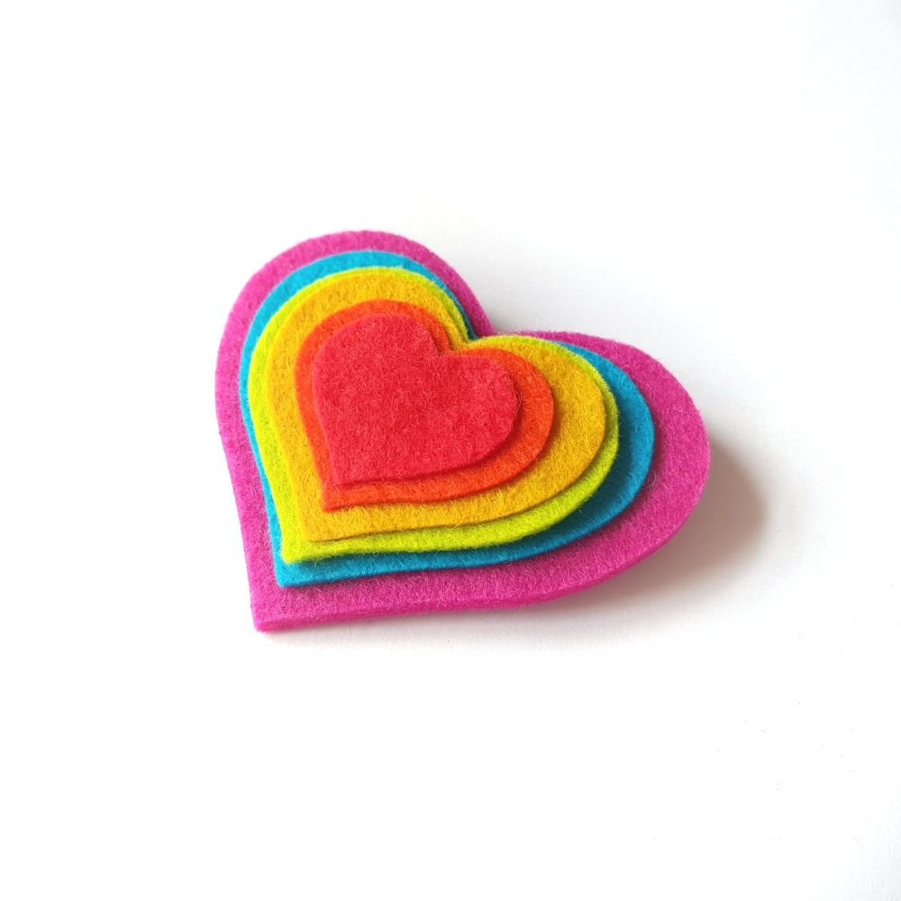 Pink Rainbow Heart Brooch