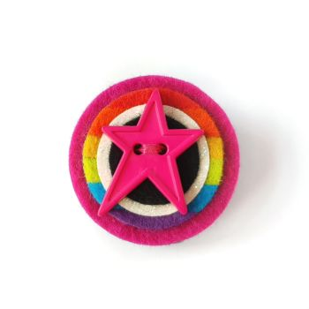 Star Brooch with Rainbow Stripes