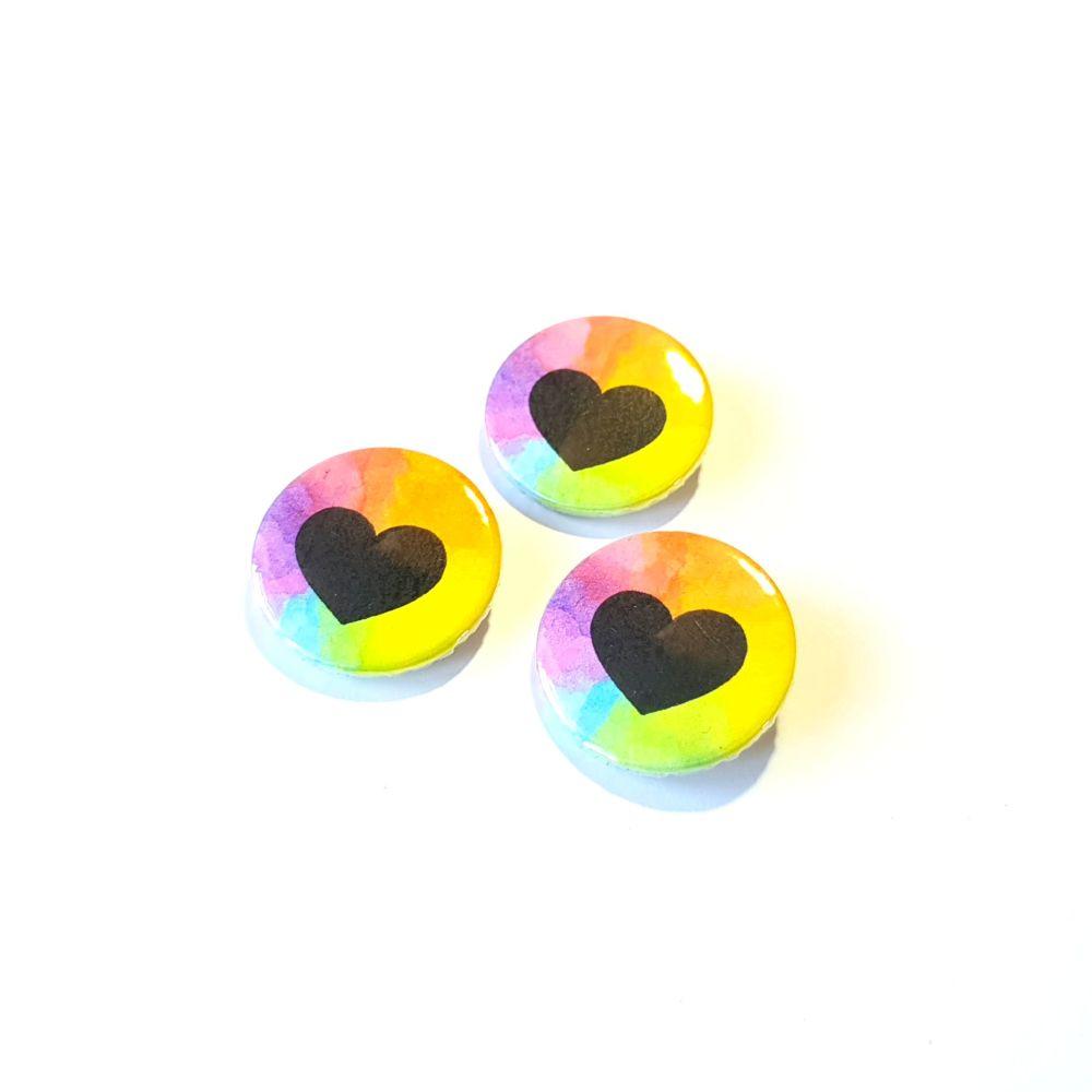 Handpainted Rainbow Heart Badge