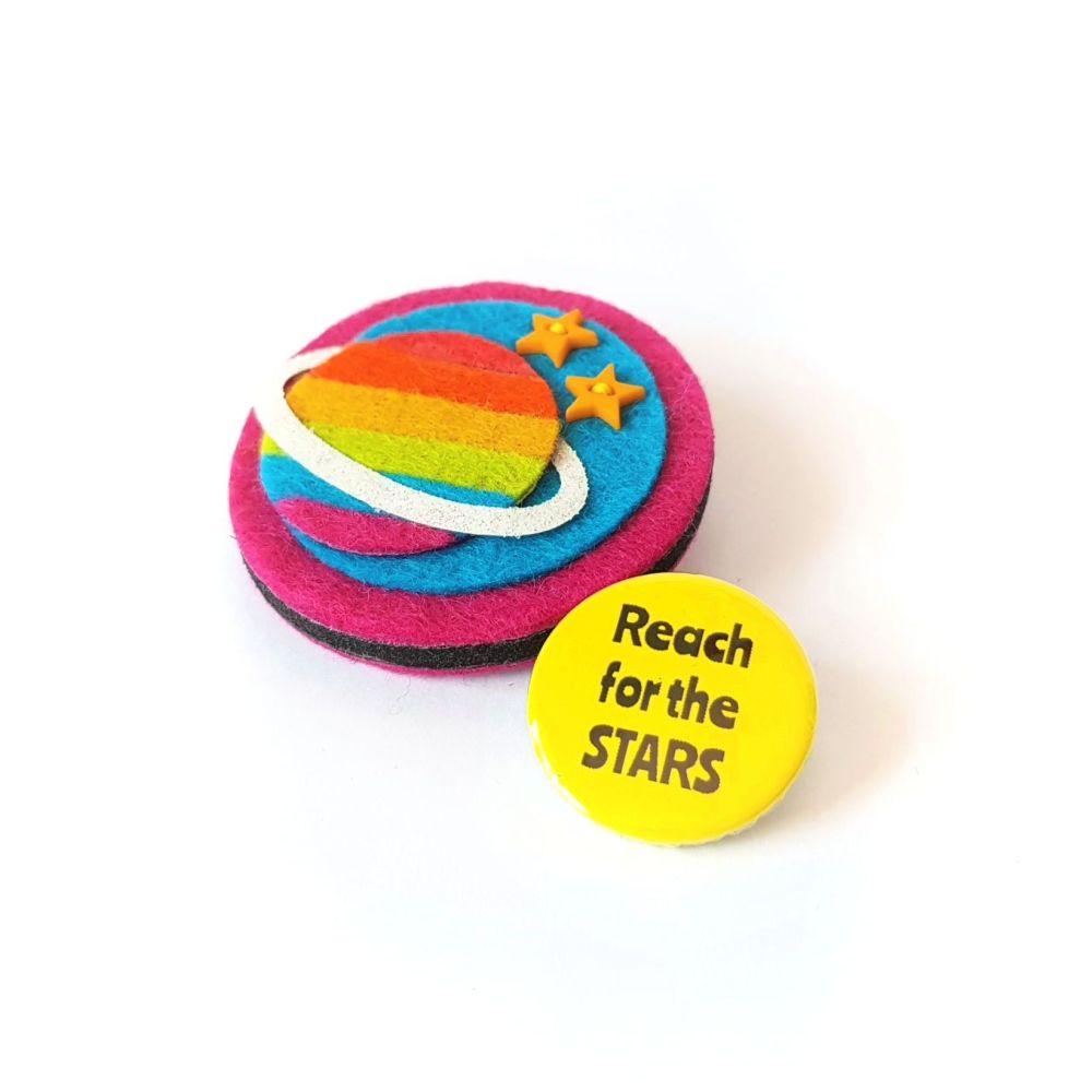 Rainbow Planet Brooch