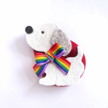 Rainbow Dog Brooch