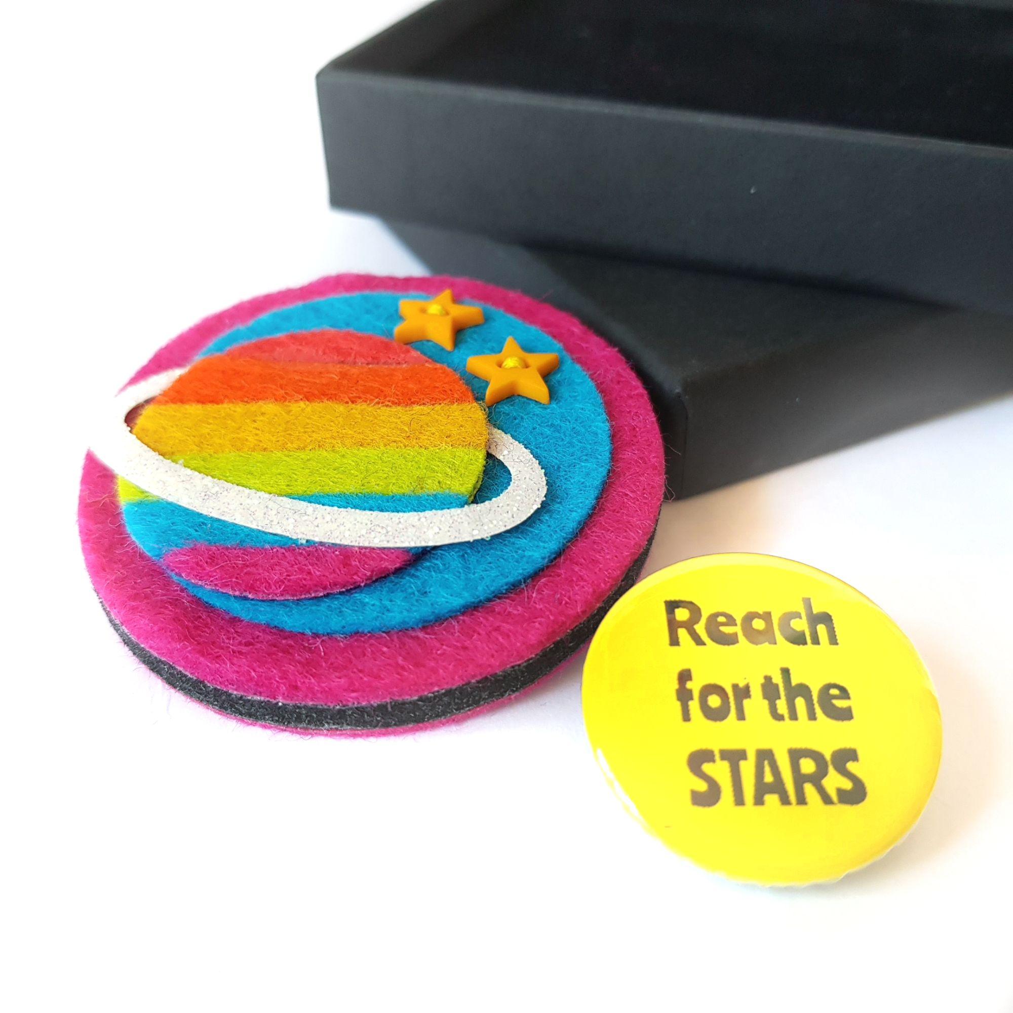Rainbow Planet Felt Brooch