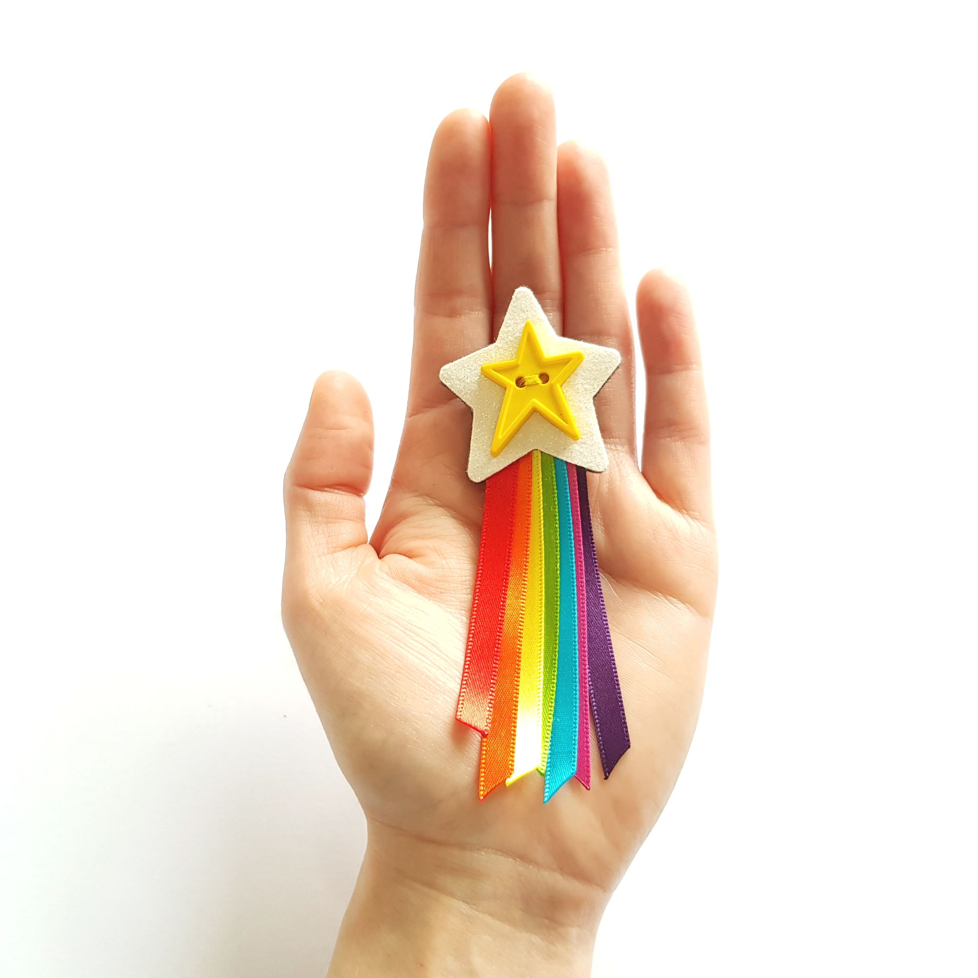 Rainbow Ribbon Shooting Star  Brooch