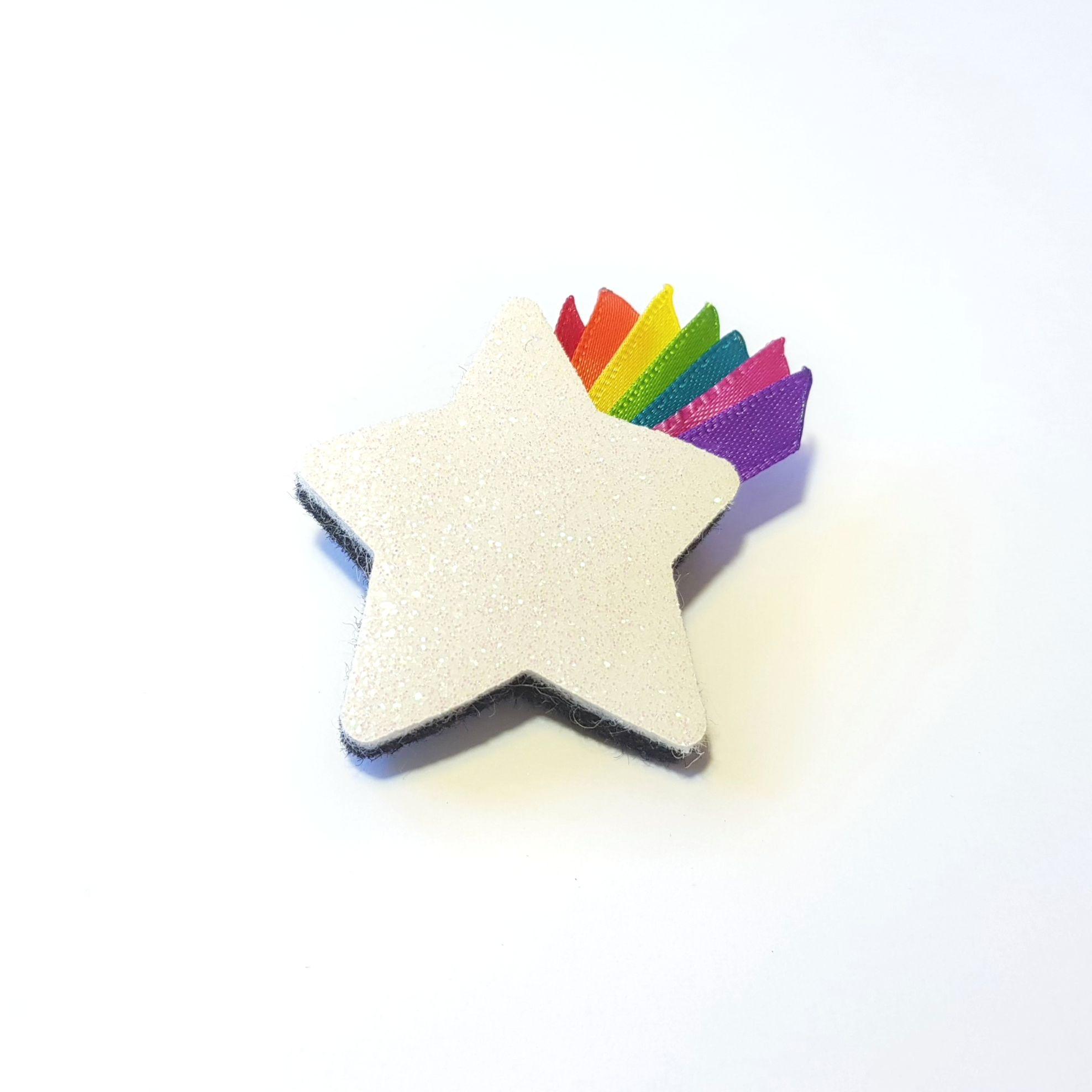 Rainbow Ribbon Star Brooch