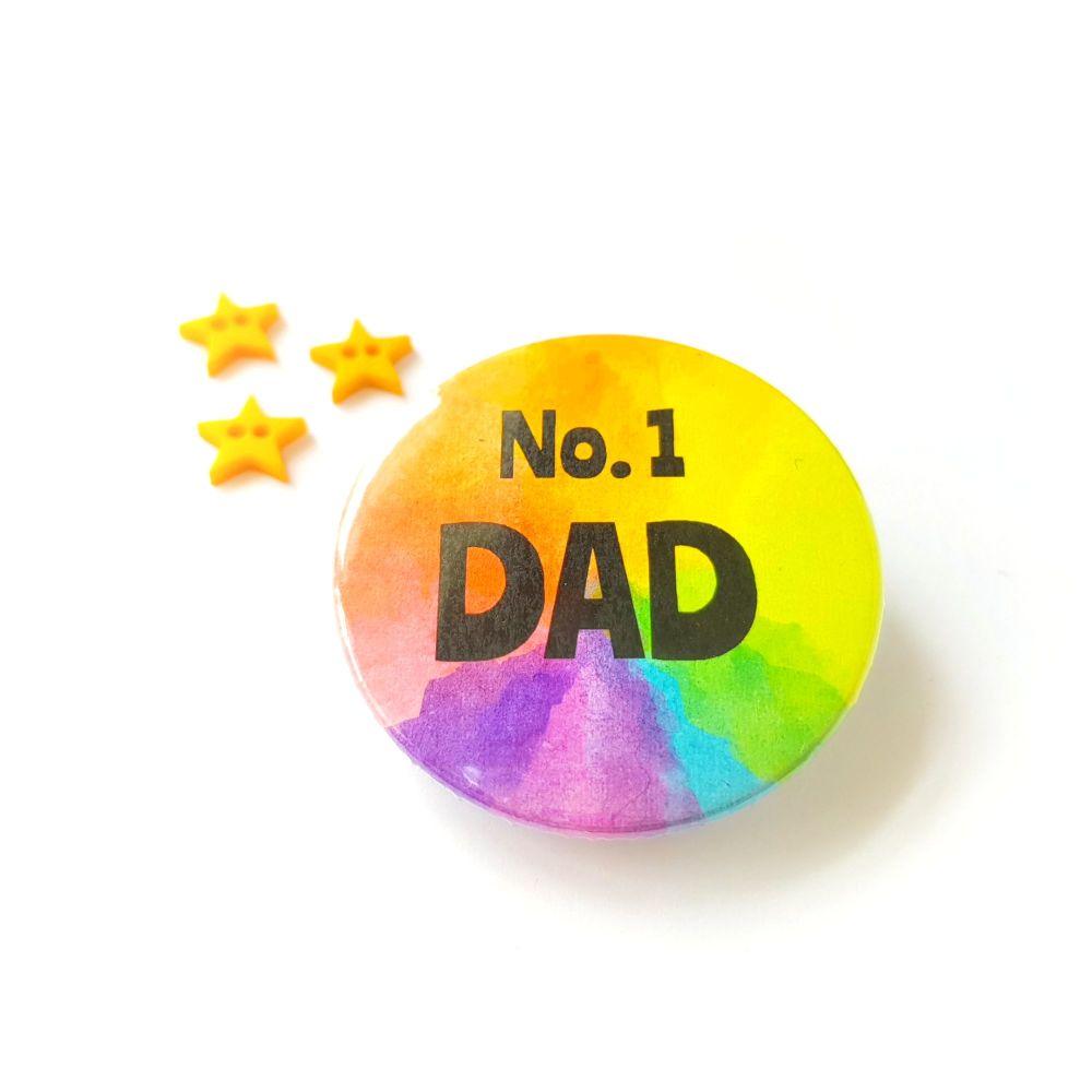 Rainbow Pin Badge  - No. 1 Dad