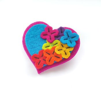 Pink Rainbow Flower Heart Brooch