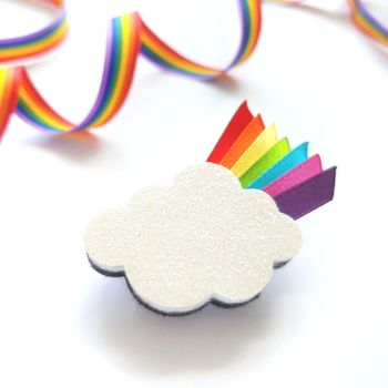 Cloud Brooch with Rainbow Ribbon