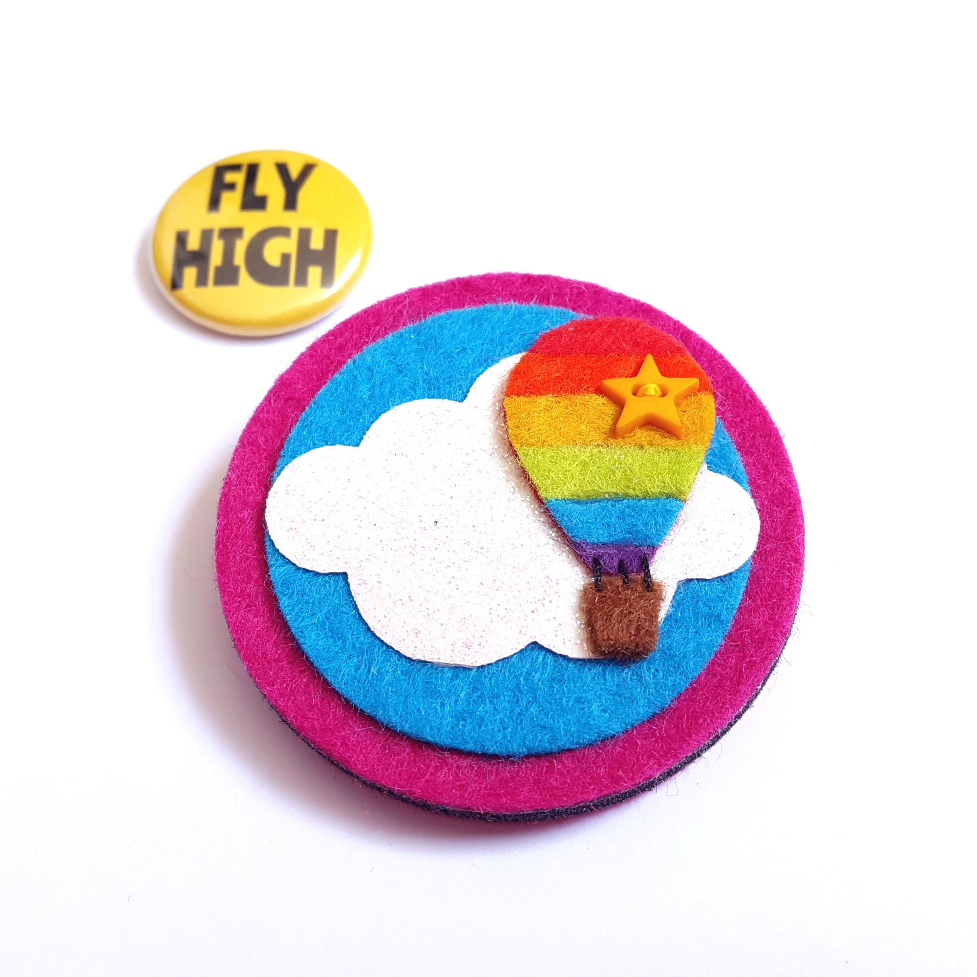 Rainbow Hot Air Balloon Felt Brooch