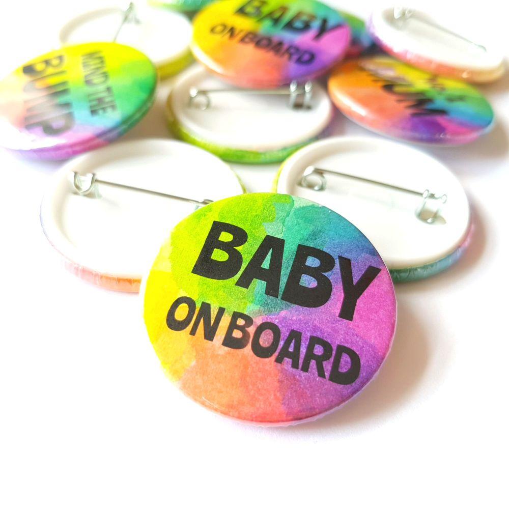 Baby on Board Rainbow Pin Badge