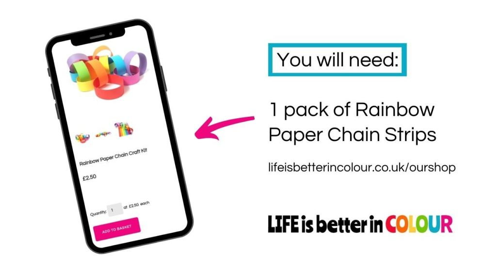 How to purchase a Rainbow Paper Chain Kit from LIFE is better in COLOUR