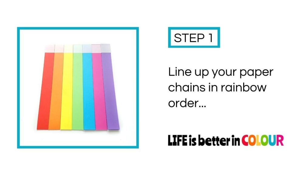 Rainbow paper strips for making paper chains