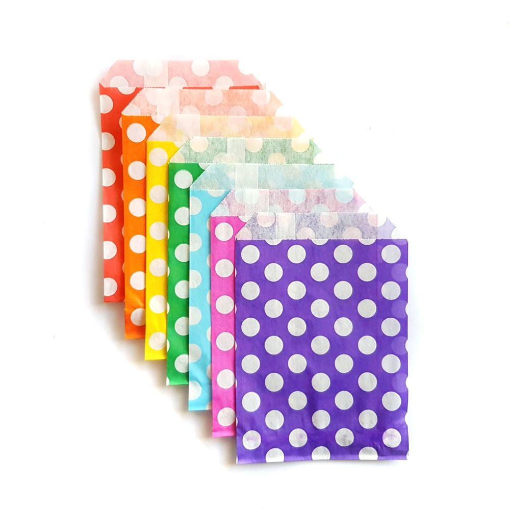 Set of 7 Polka Dot Gift Bags - Rainbow Set