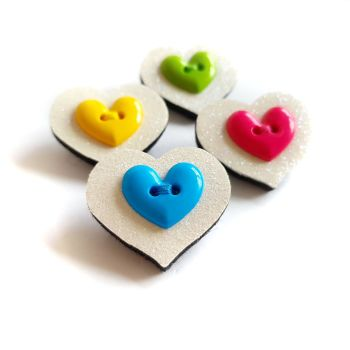 Set of 4 Heart Brooches
