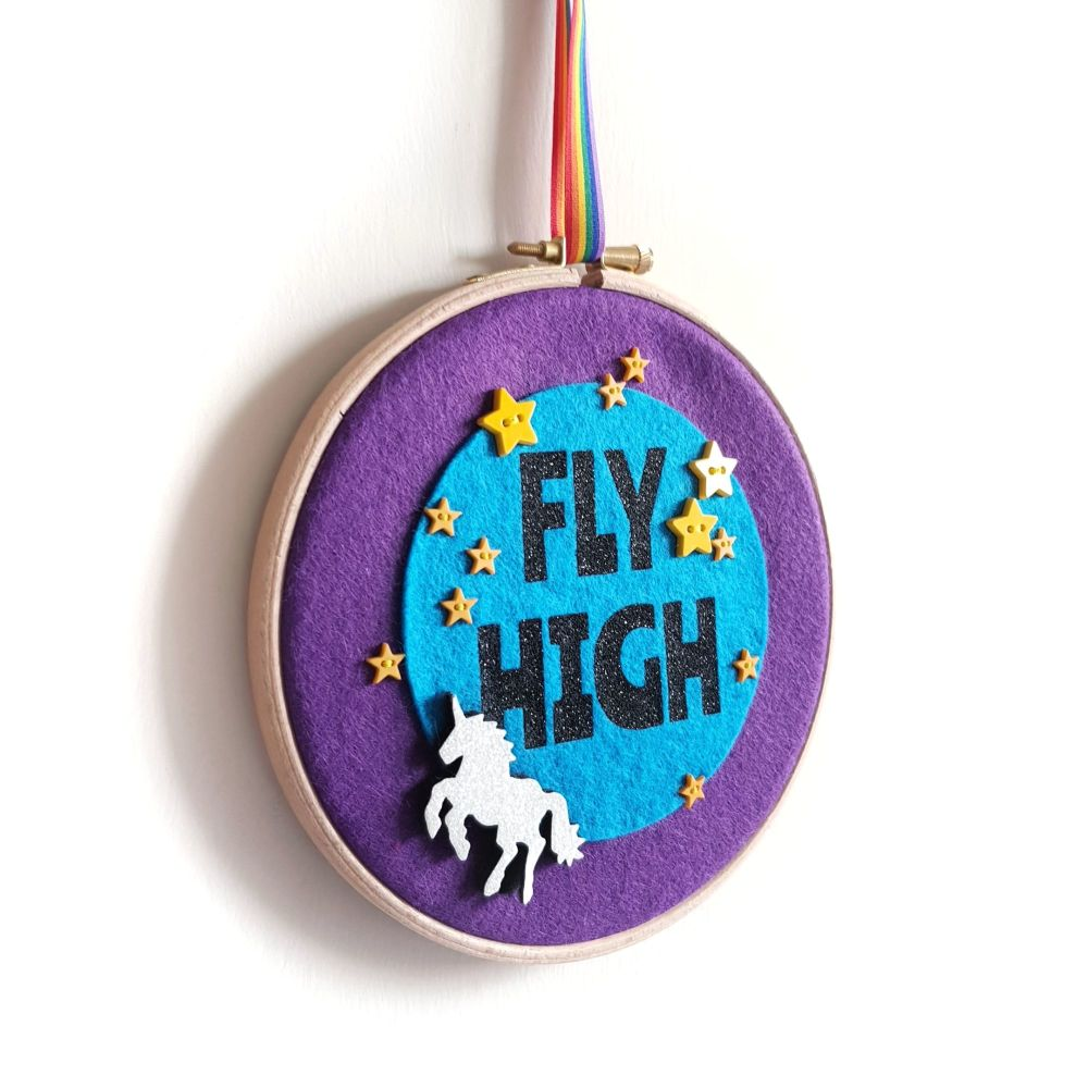 'Fly High' Unicorn Embroidery Hoop Wall Hanging Decoration