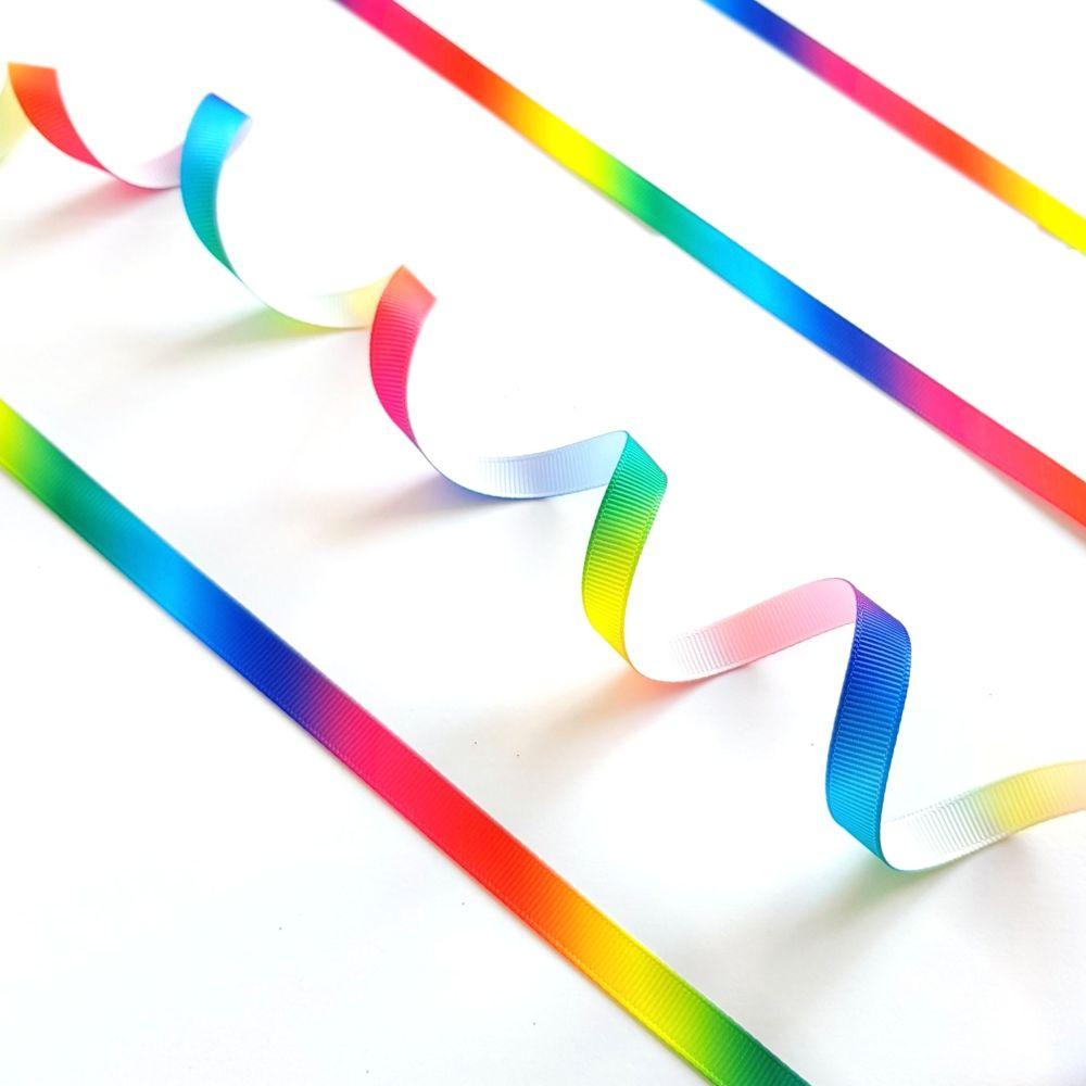 Rainbow Print Grosgrain Ribbon - 9mm