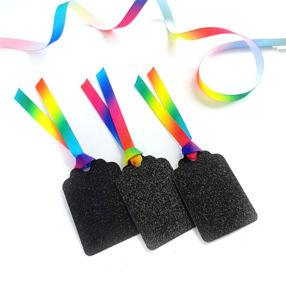 Rainbow Ribbon Glitter Gift Tags - Set of 3