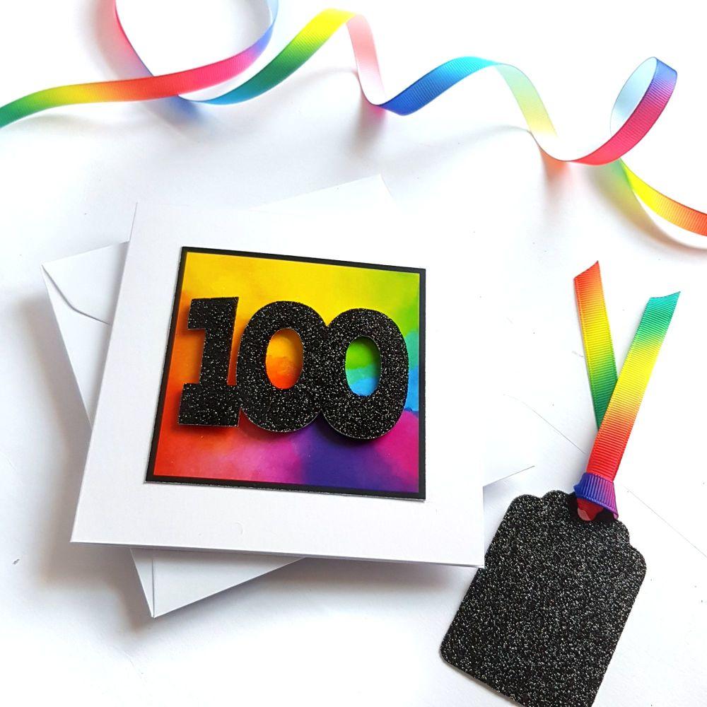 100th Birthday Card - Rainbow Milestone Birthday Card