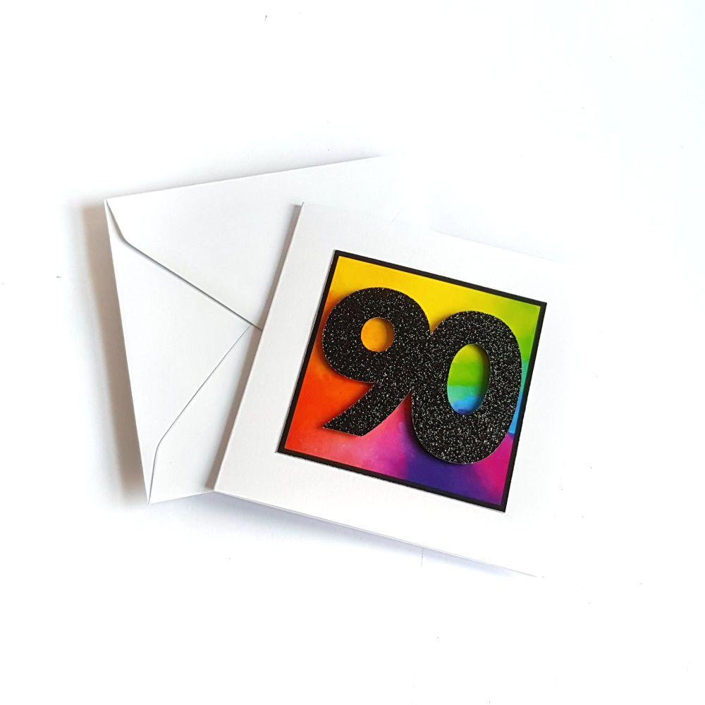 90th Birthday Card - Rainbow Milestone Birthday Card