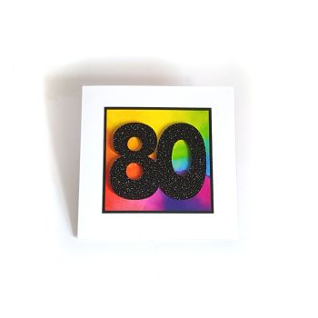 80th Birthday Card - Rainbow Milestone Birthday Card
