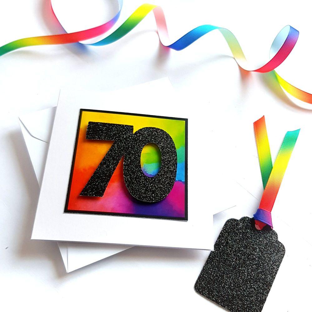 70th Birthday Card - Rainbow Milestone Birthday Card