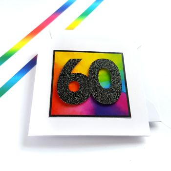 60th Birthday Card - Rainbow Milestone Birthday Card