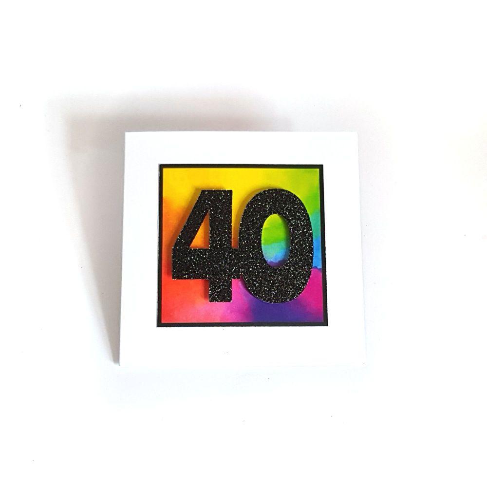 40th Birthday Card - Rainbow Milestone Birthday Card
