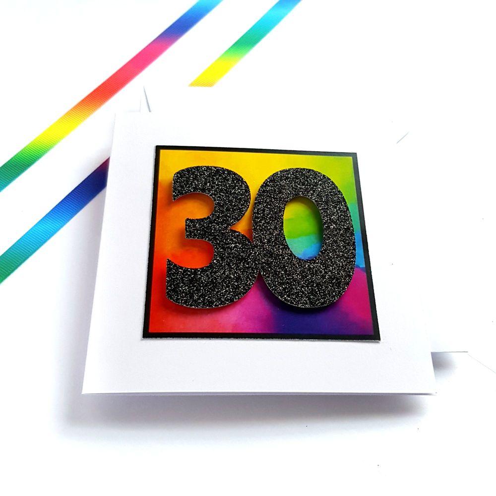 30th Birthday Card - Rainbow Milestone Birthday Card