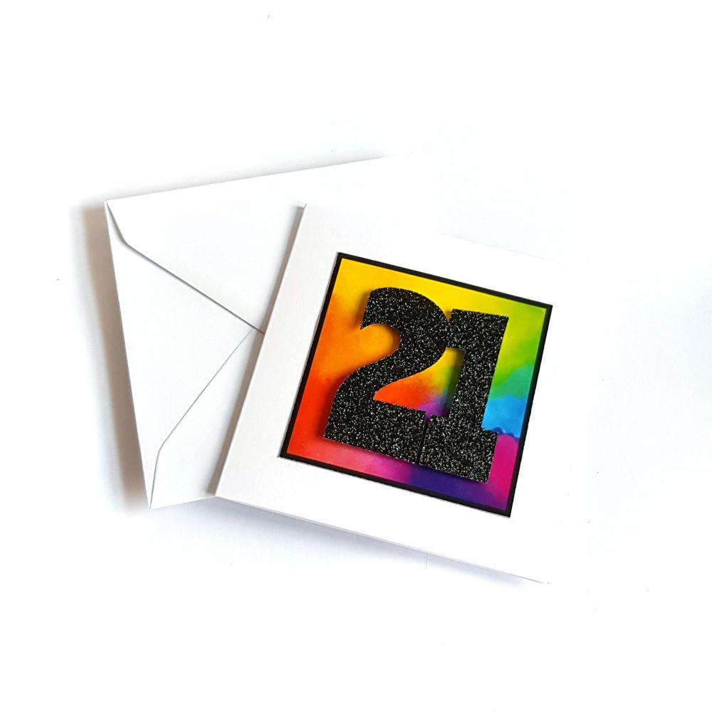 21st Birthday Card - Rainbow Milestone Birthday Card