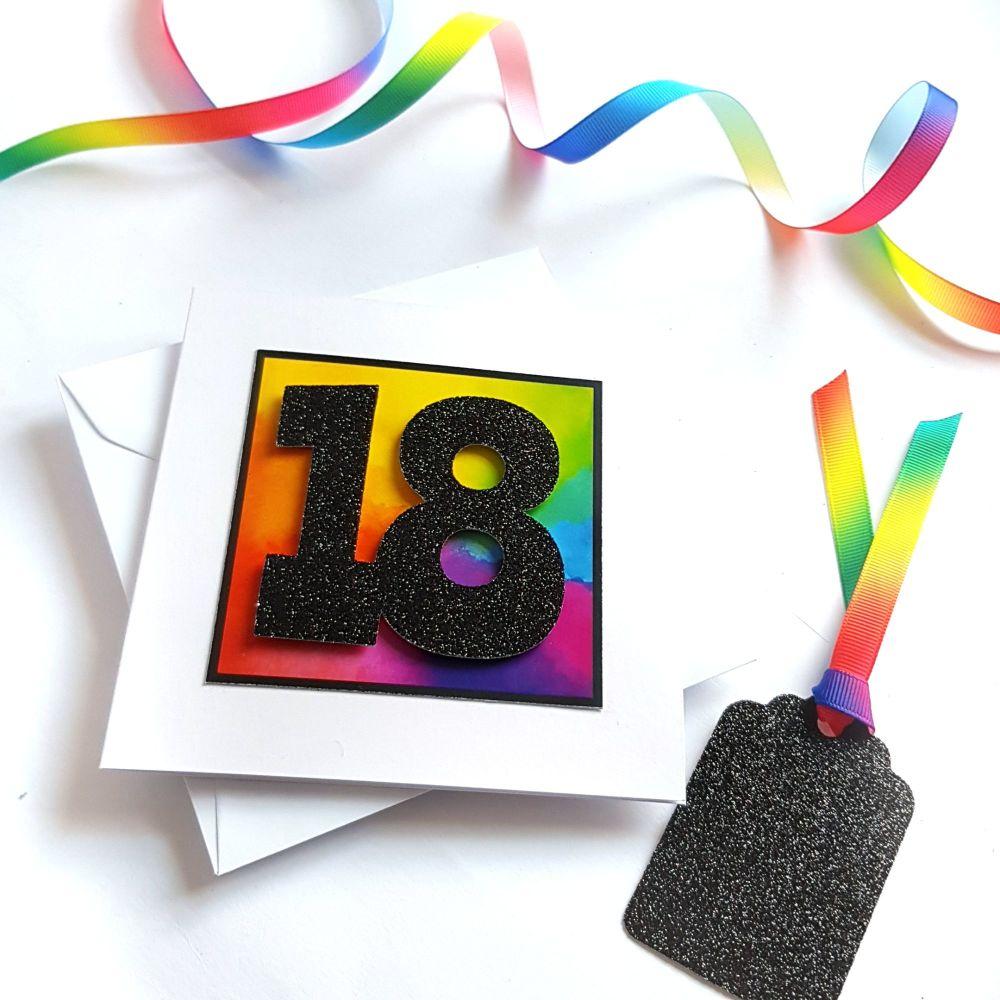 18th Birthday Card - Rainbow Milestone Birthday Card