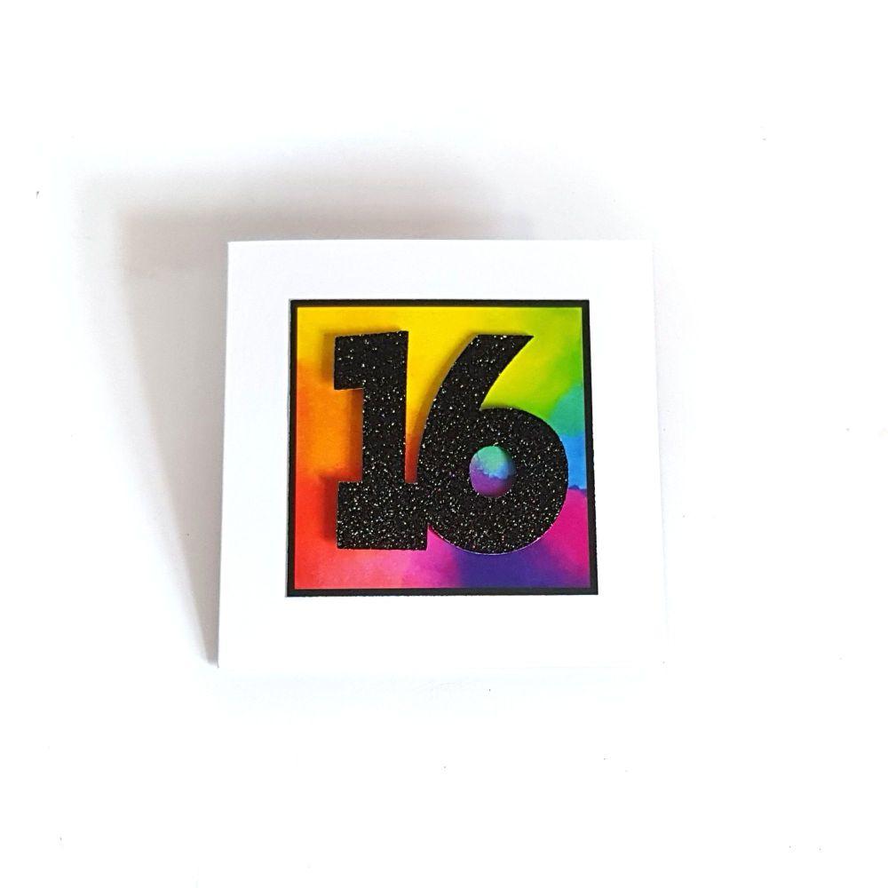 16th Birthday Card - Rainbow Milestone Birthday Card