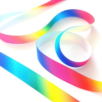 Rainbow Print Grosgrain Ribbon - Per Metre 16mm wide