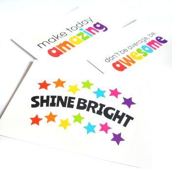 Set of Three Rainbow Affirmation Cards