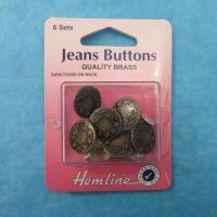 Hemline Jeans Buttons Bronze