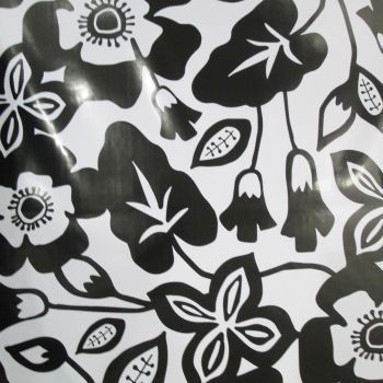 Oilcloth - Black and White Flower