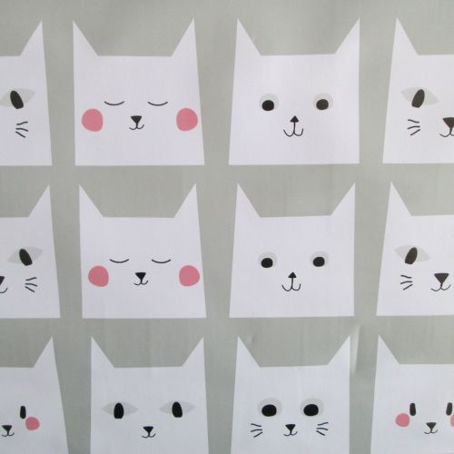 Pussy Cat Faces Oilcloth
