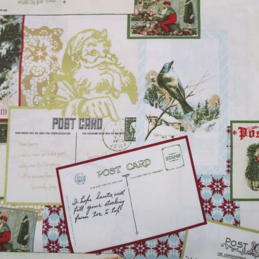 Santa's Postcards - Christmas Fabric
