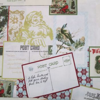 Christmas Fabric - Santa's Postcards ON SALE
