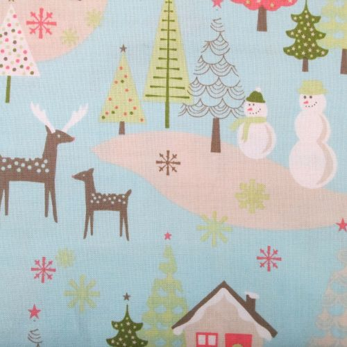 Christmas Fabric - Blue Snowman