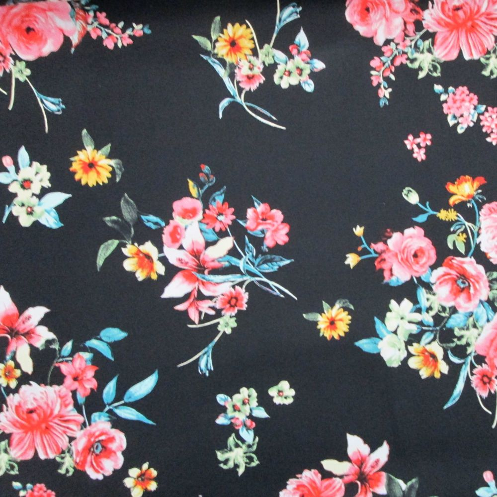 Sateen - Floral on black