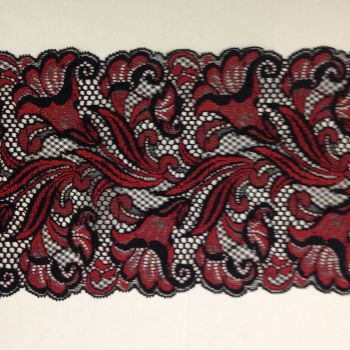Wide Stretch Lace - Black and Red