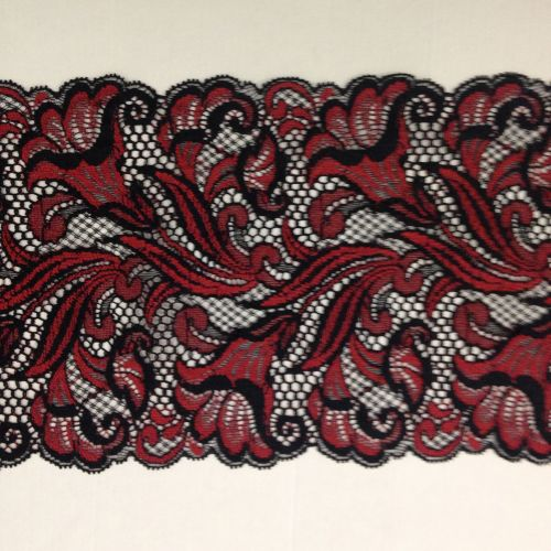 Black and Red Stretch Lace