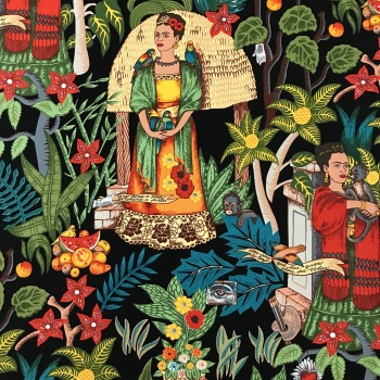 Frida's Garden Black- heavy weight cotton canvas- Alexander Henry Fabric