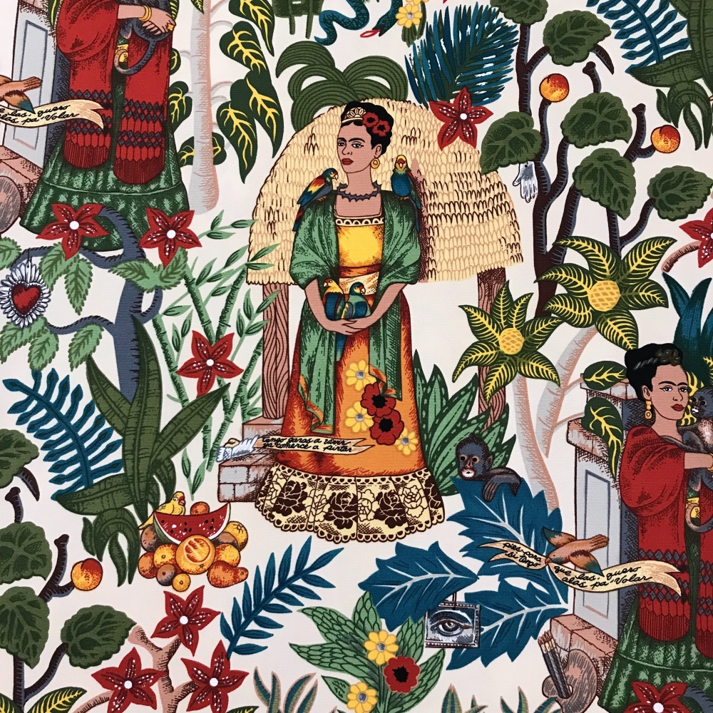 Frida's Garden - Tea Frida Kahlo heavy weight cotton - Alexander Henry Fabric