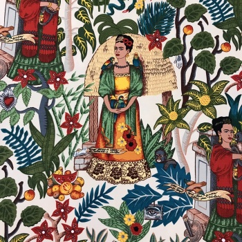 Frida's Garden - Tea Frida Kahlo heavy weight cotton - Alexander Henry Fabric