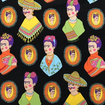 Fantastic Frida by Alexander Henry Fabric / on black