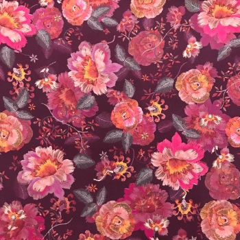 Viscose Floral on Plum