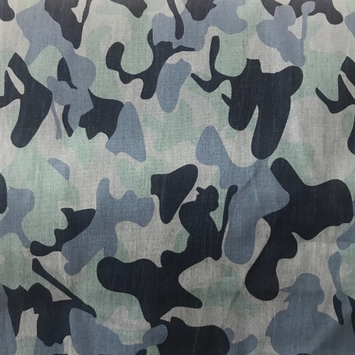 Camo print denim with stretch